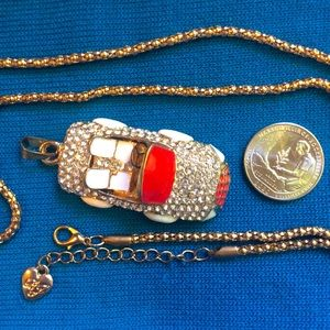 Lil Crystal charm convertible car Necklace Red BJ